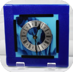 20 x 20 Blue with irid & dichroic glass clock